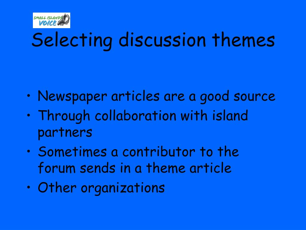 Selecting discussion themes