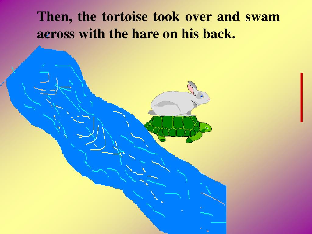 Then, the tortoise took over and swam across with the hare on his back.