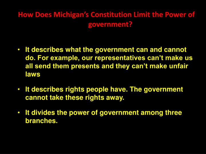 How Does Michigan's Constitution Limit the Power of government?