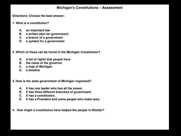 Michigan's Constitutions – Assessment