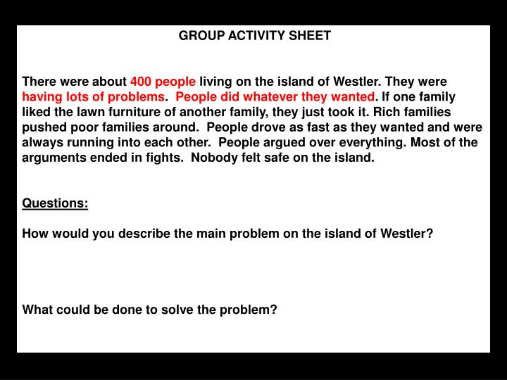 GROUP ACTIVITY SHEET