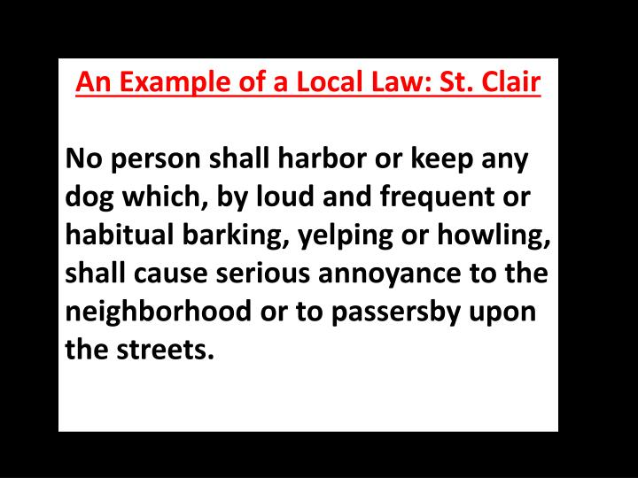 An Example of a Local Law: St. Clair