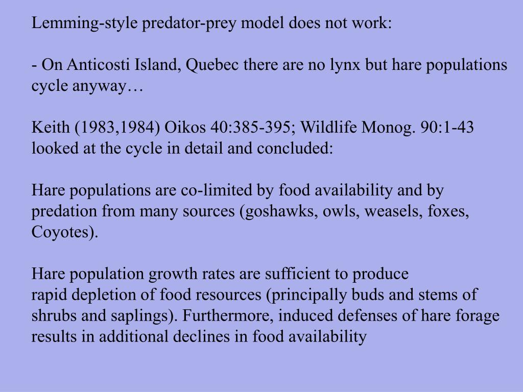 Lemming-style predator-prey model does not work: