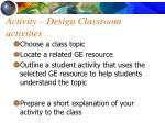 activity design classroom activities