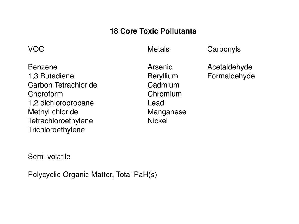 18 Core Toxic Pollutants