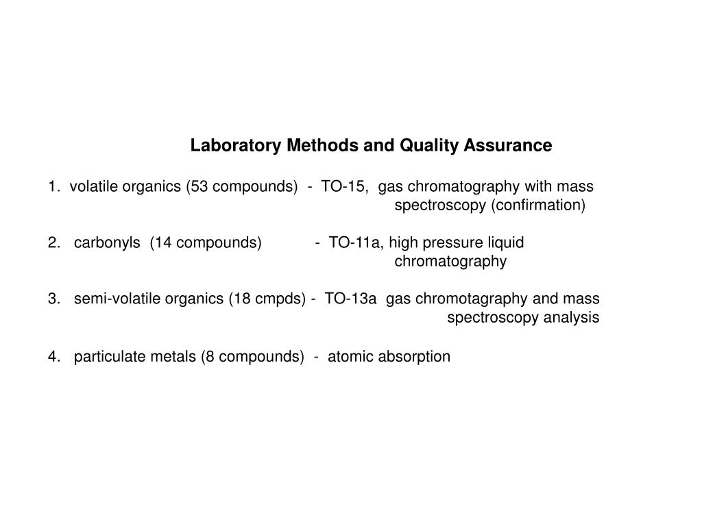 Laboratory Methods and Quality Assurance
