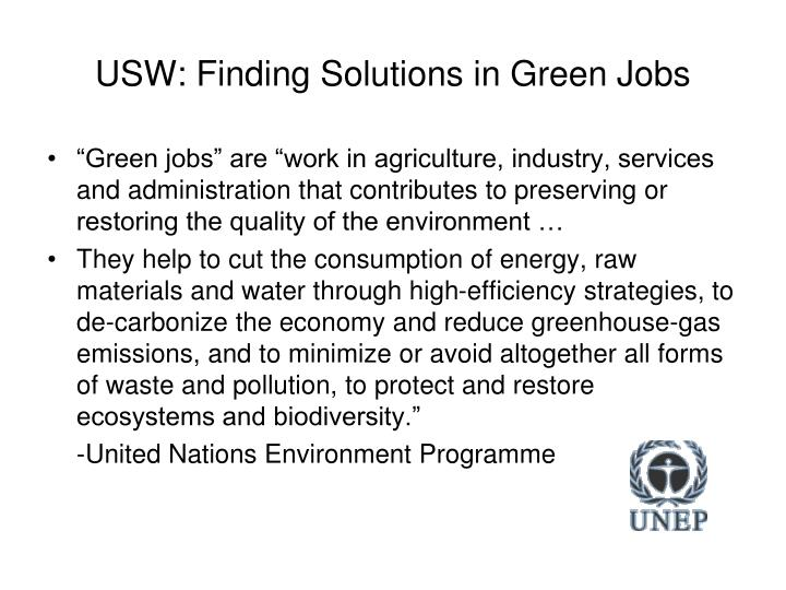 USW: Finding Solutions in Green Jobs
