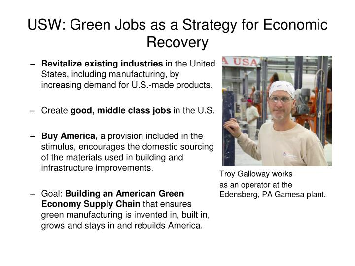 USW: Green Jobs as a Strategy for Economic Recovery