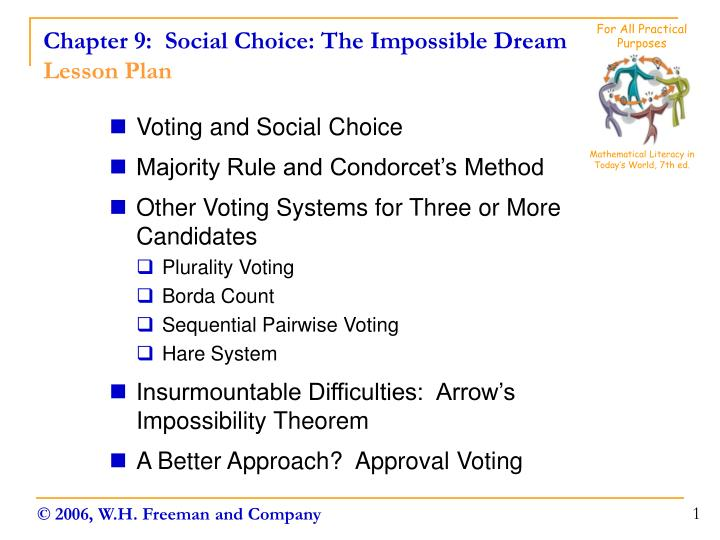 Chapter 9 social choice the impossible dream lesson plan