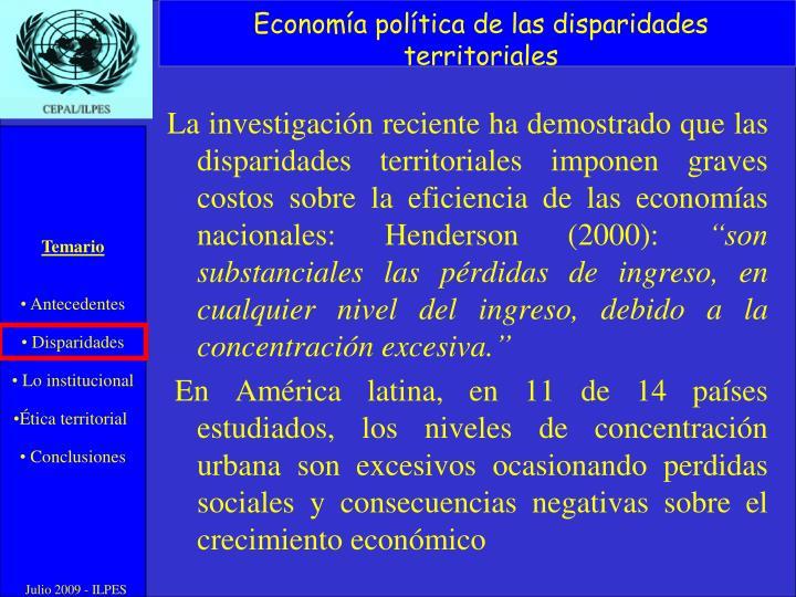 Economía política de las disparidades territoriales