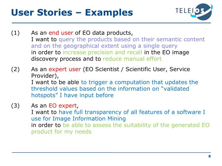 User Stories – Examples