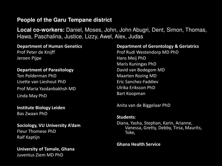 Department of Gerontology & Geriatrics