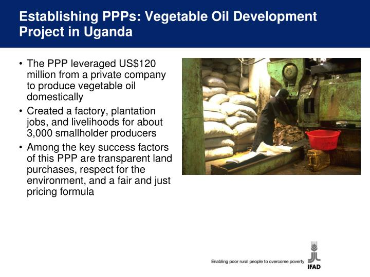 Establishing PPPs: Vegetable Oil Development Project in Uganda