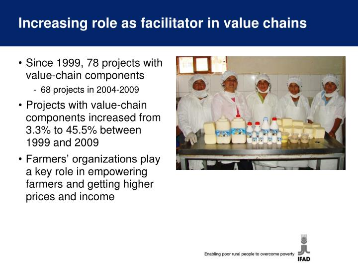 Increasing role as facilitator in value chains