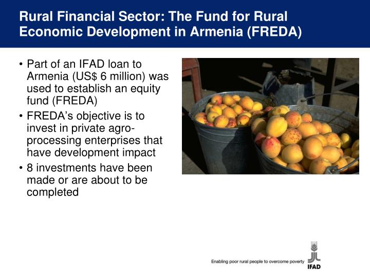 Rural Financial Sector: The Fund for Rural Economic Development in Armenia (FREDA)