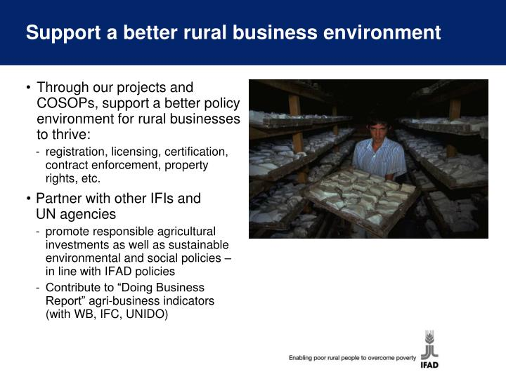Support a better rural business environment