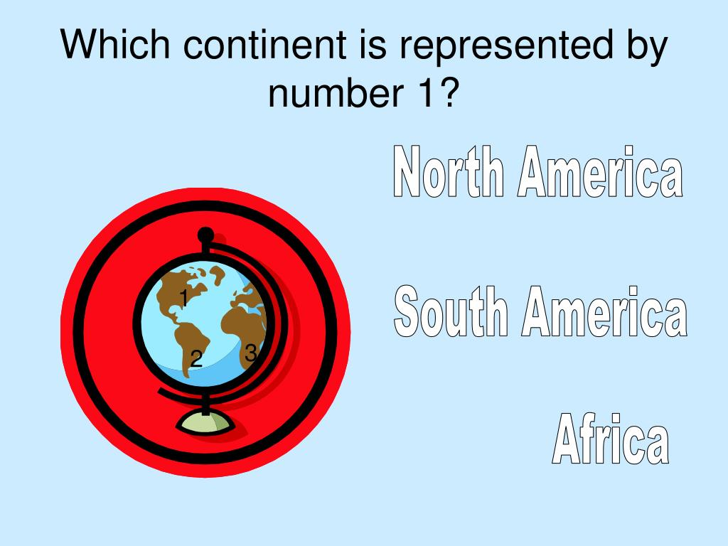 Which continent is represented by number 1?
