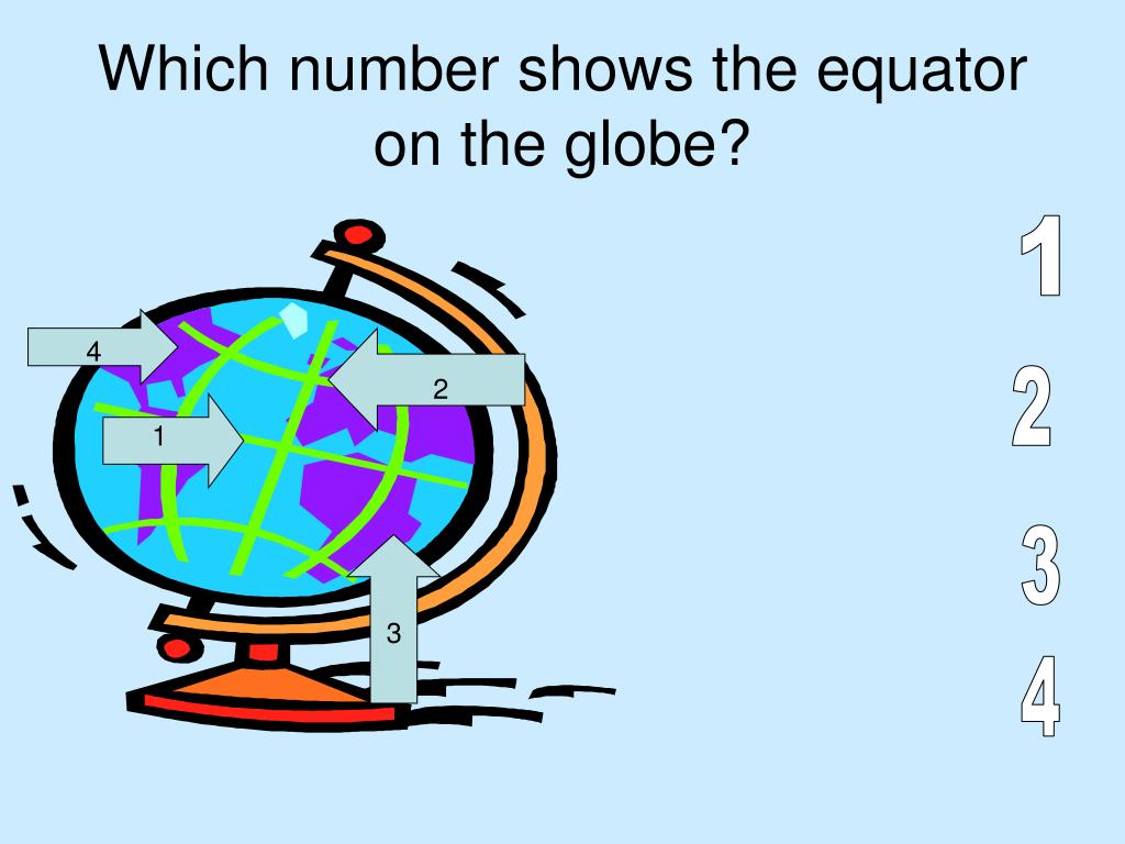 Which number shows the equator on the globe?
