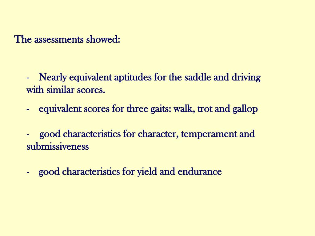 The assessments showed: