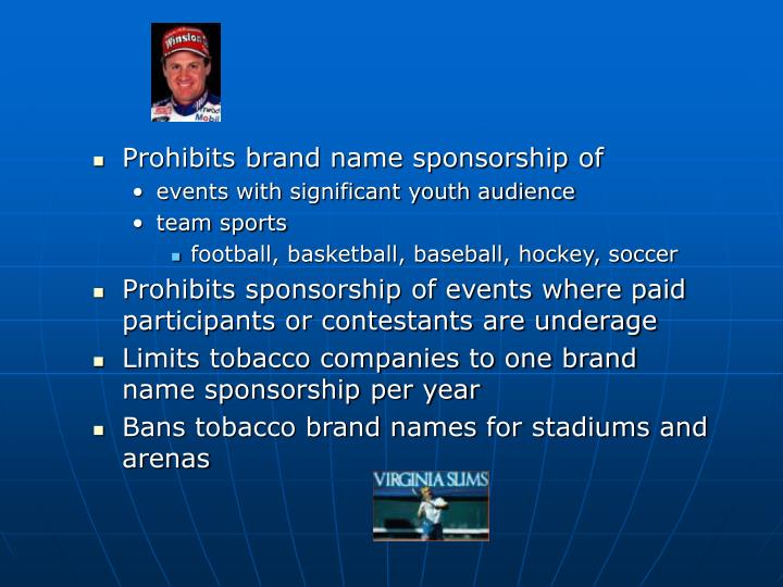 Prohibits brand name sponsorship of