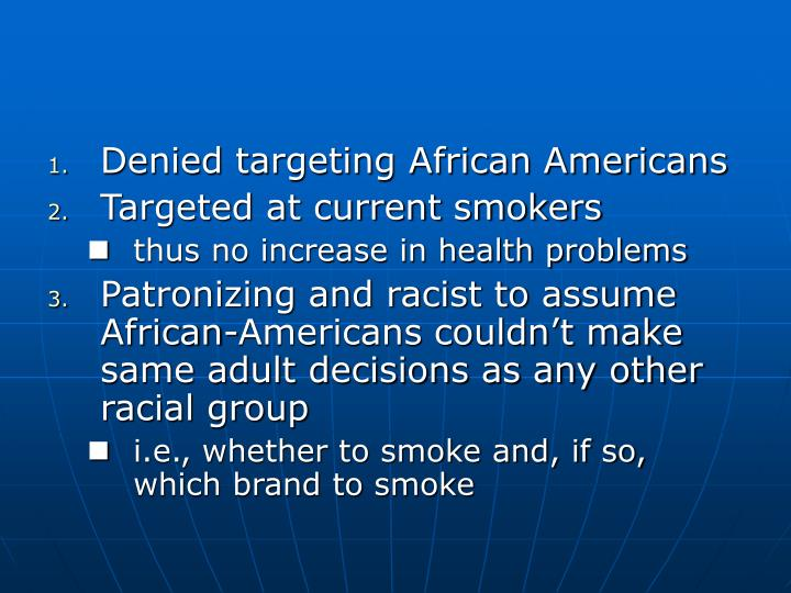 Denied targeting African Americans