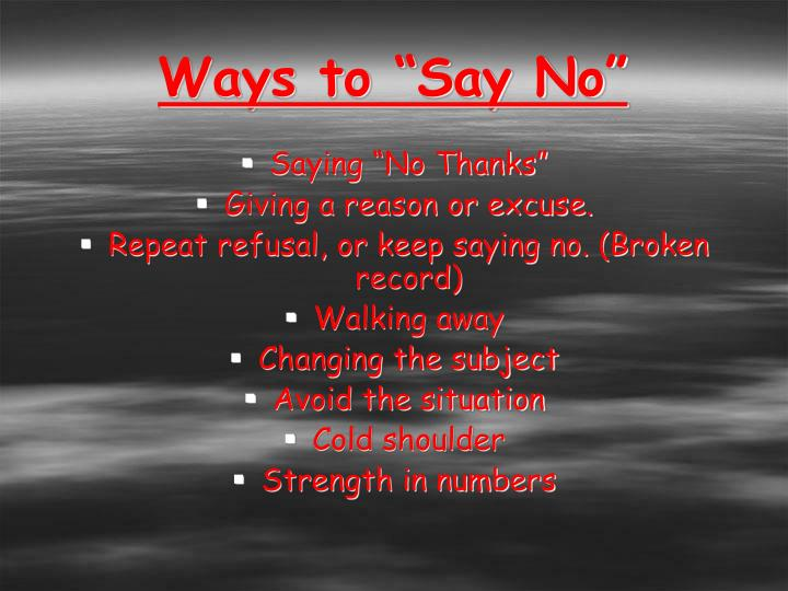 "Ways to ""Say No"""