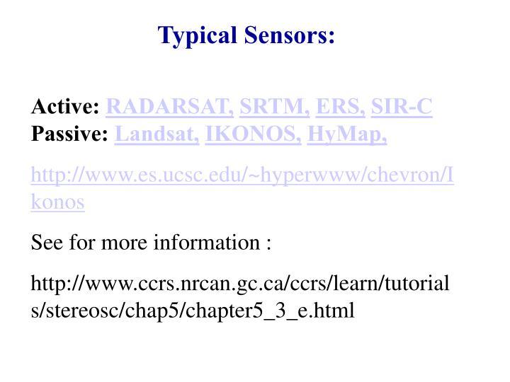 Typical Sensors: