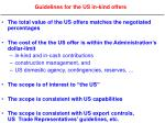 guidelines for the us in kind offers