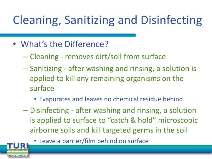 Cleaning, Sanitizing and Disinfecting