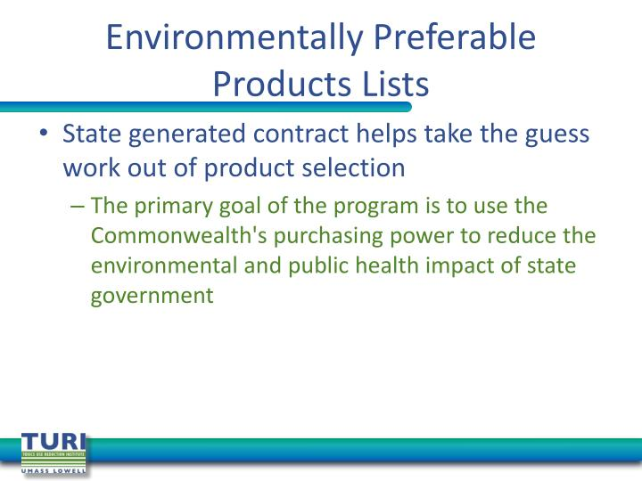 Environmentally Preferable Products Lists
