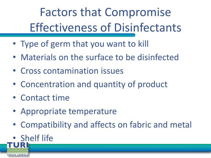 Factors that Compromise Effectiveness of Disinfectants