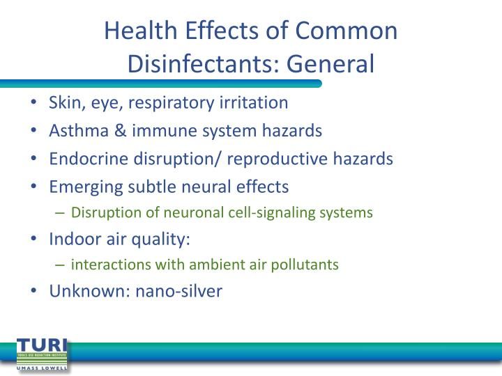 Health Effects of Common Disinfectants: General