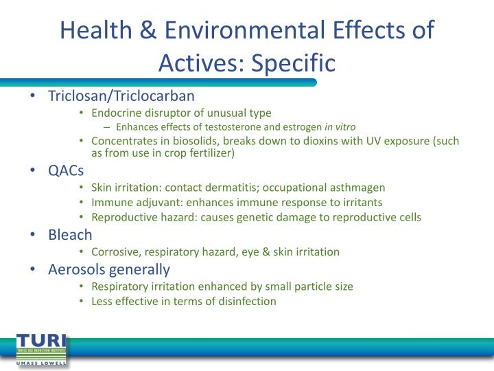 Health & Environmental Effects of Actives: Specific