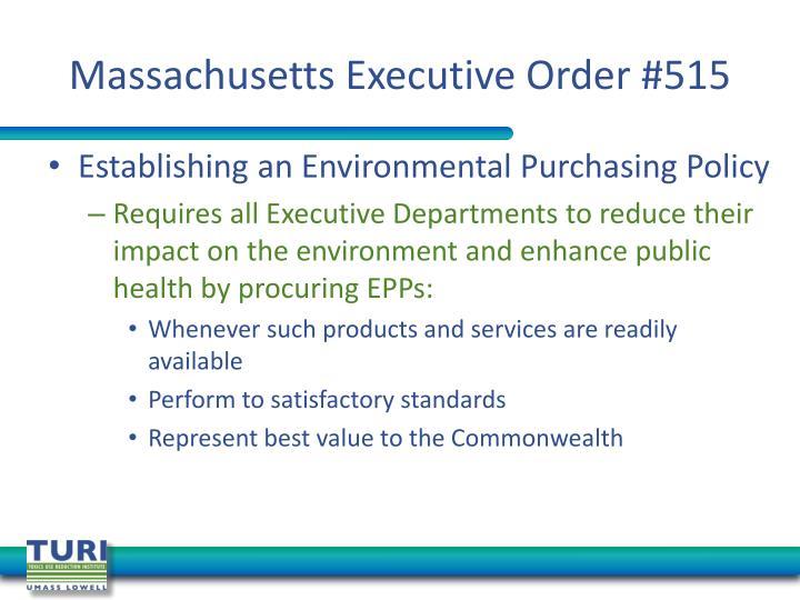 Massachusetts Executive Order #515