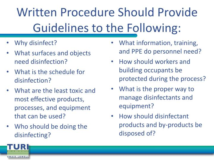 Written Procedure Should Provide Guidelines to the Following: