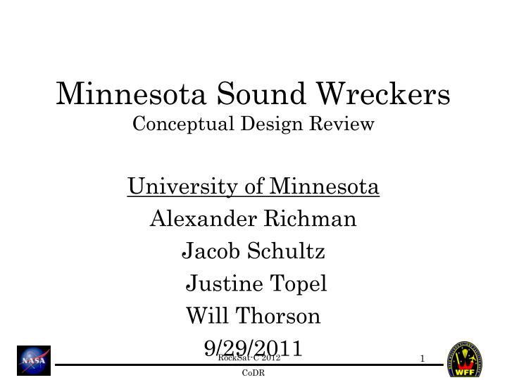 Minnesota sound wreckers conceptual design review
