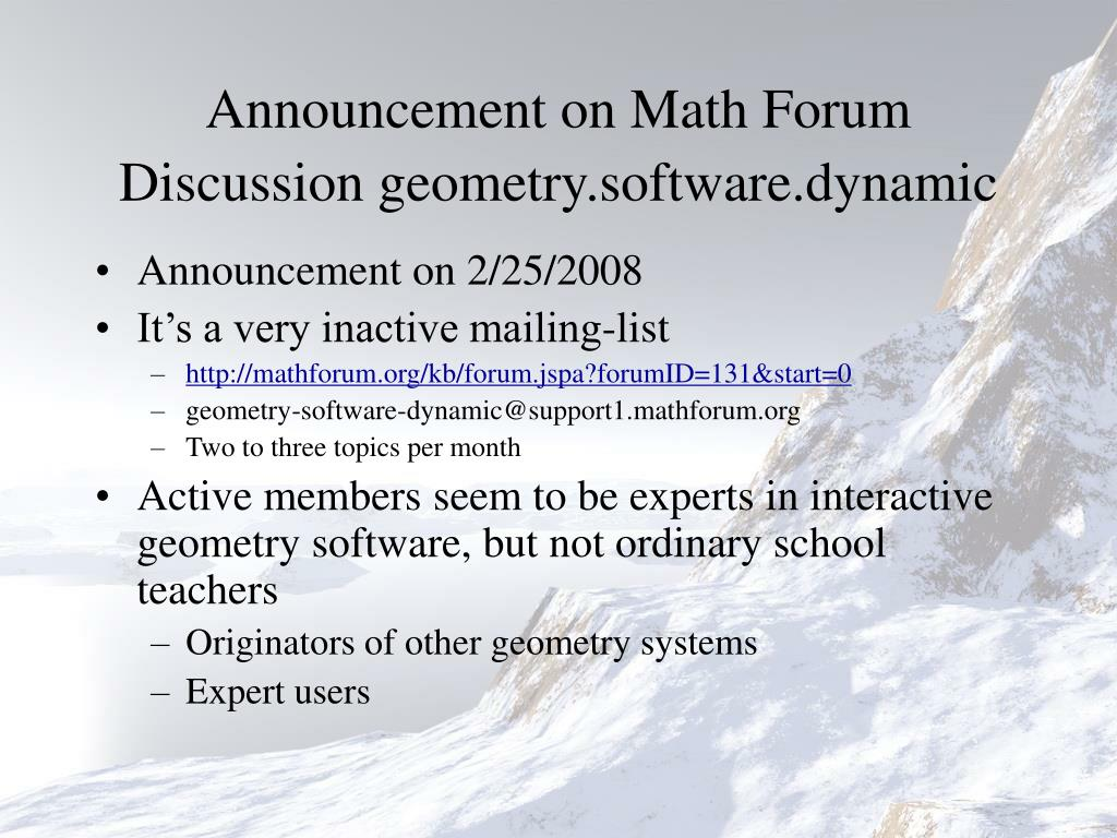 Announcement on Math Forum Discussion geometry.software.dynamic