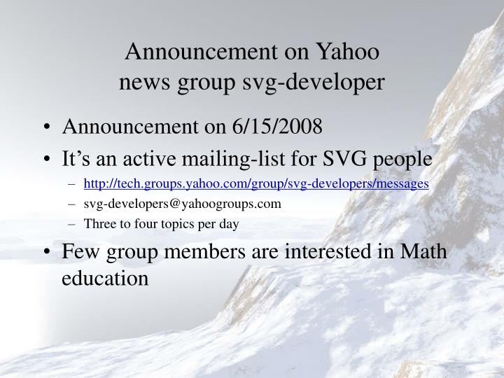 Announcement on yahoo news group svg developer