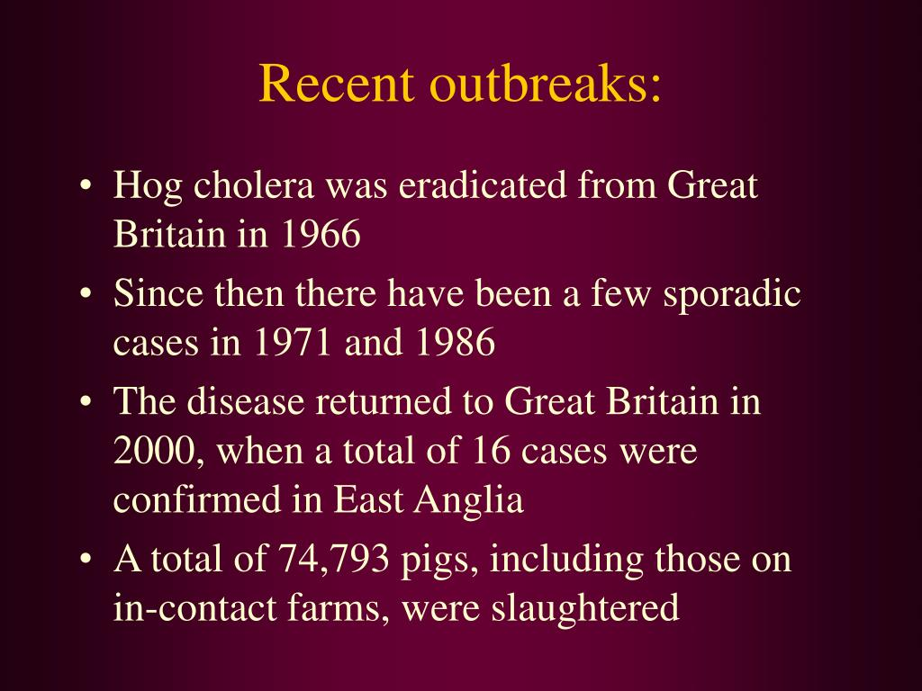 Recent outbreaks: