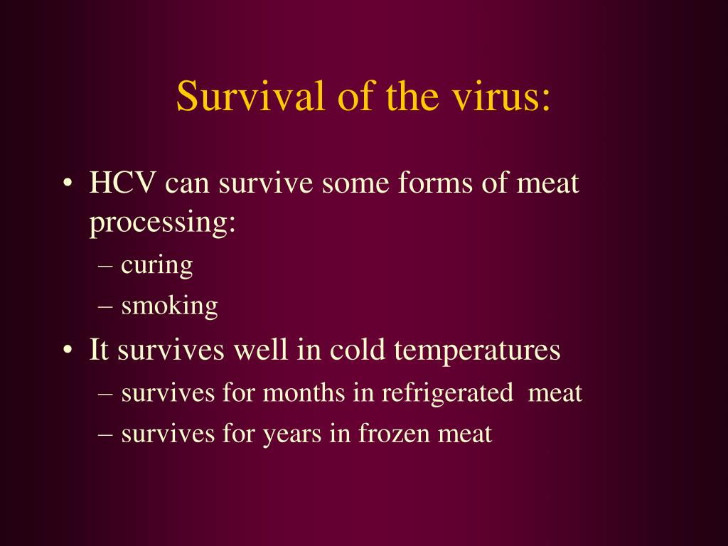 Survival of the virus: