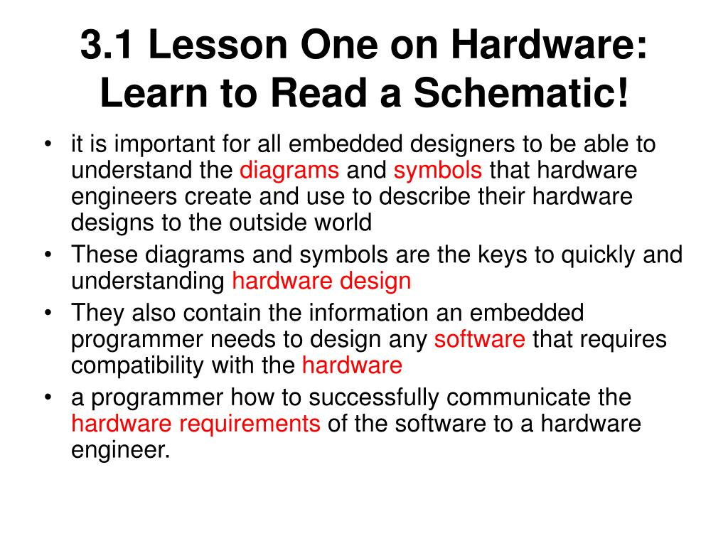 3.1 Lesson One on Hardware: Learn to Read a Schematic!