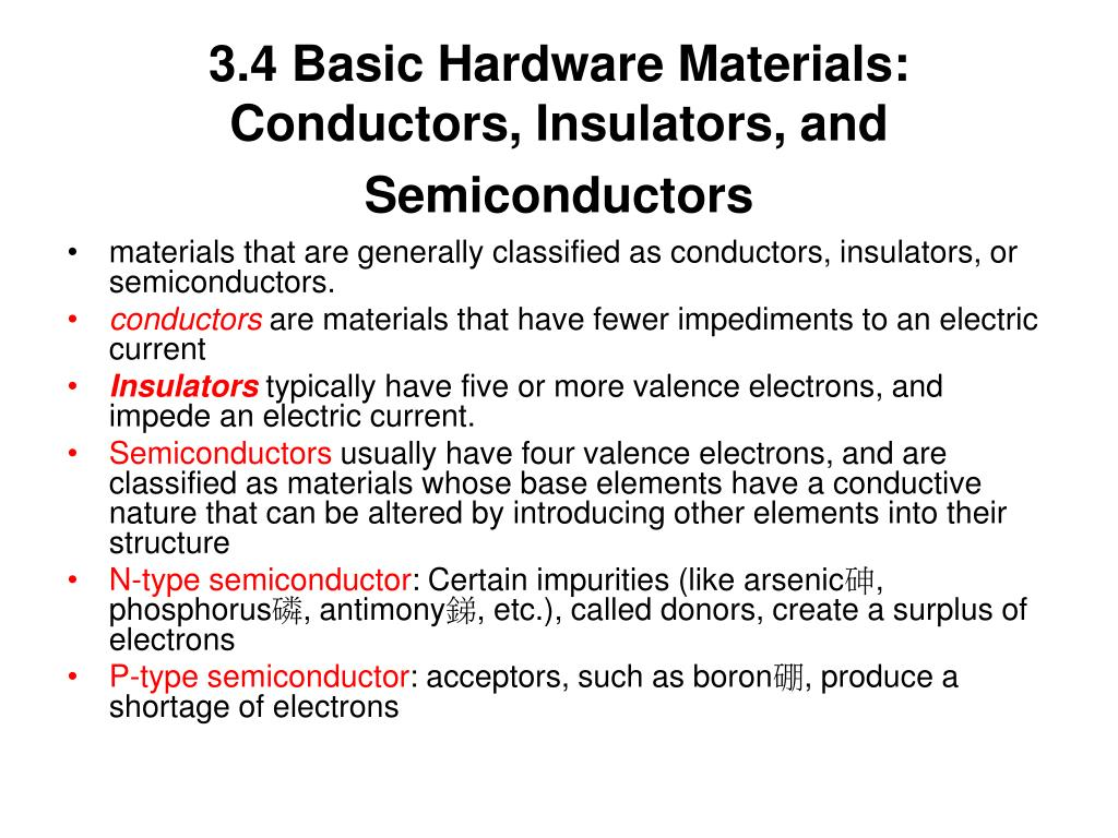 3.4 Basic Hardware Materials: Conductors, Insulators, and Semiconductors