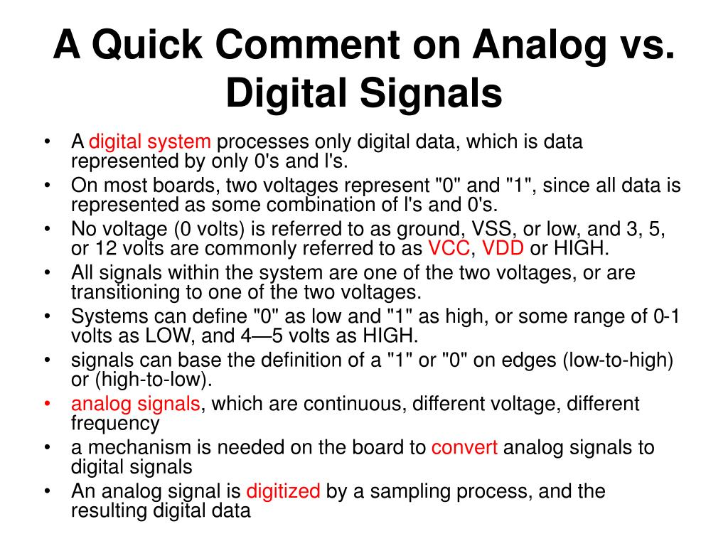 A Quick Comment on Analog vs. Digital Signals