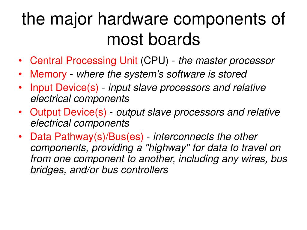 the major hardware components of most boards