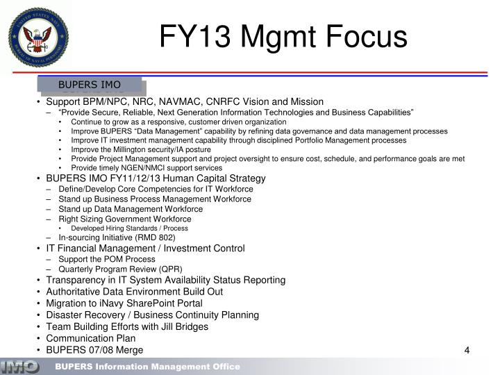 FY13 Mgmt Focus