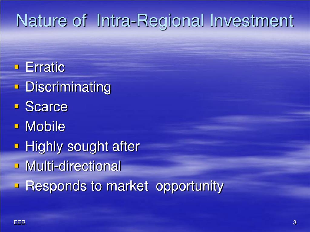Nature of  Intra-Regional Investment