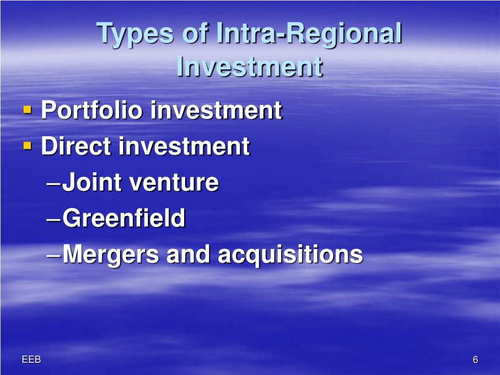 Types of Intra-Regional Investment
