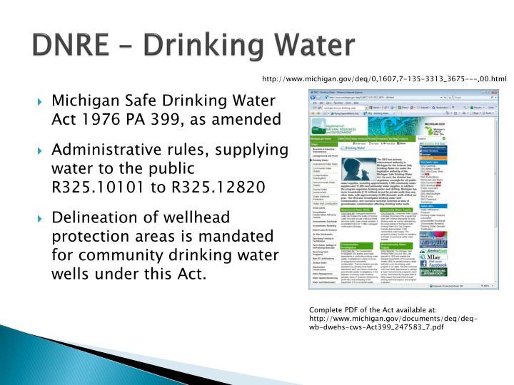 DNRE – Drinking Water