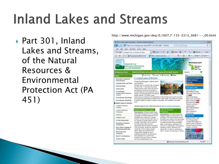 Inland Lakes and Streams