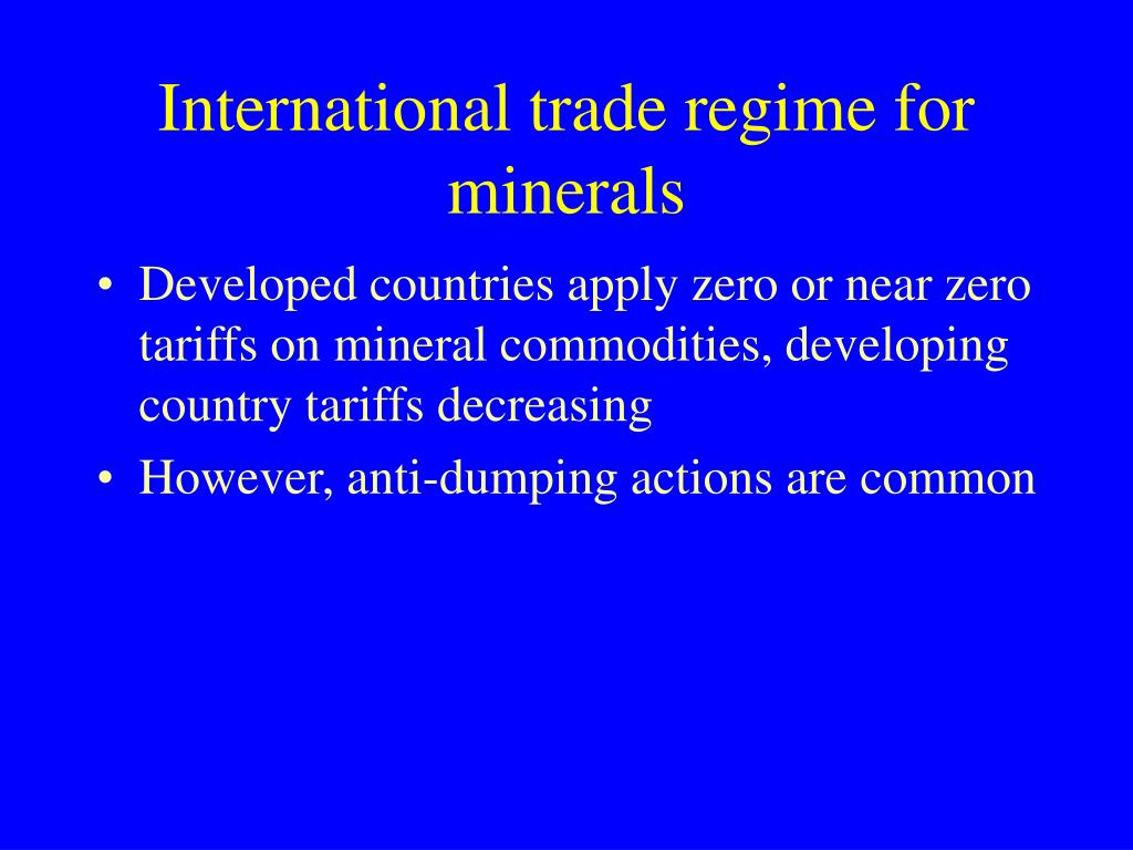International trade regime for minerals